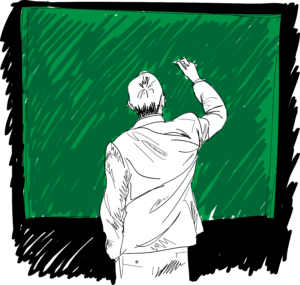 male-writing-something-on-board-vector-illustration